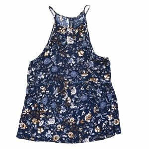 American Eagle Outfitters Navy Floral Tank Top